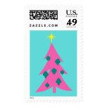Retro Pink Christmas Tree Postage Stamps