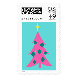 Retro Pink Christmas Tree Postage Stamps