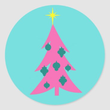Christmas Themed Retro Pink Christmas Tree Round Stickers