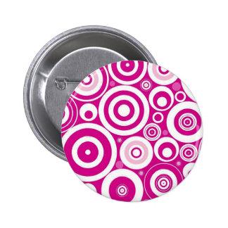 Retro Pink Circle Designer Pinback Button
