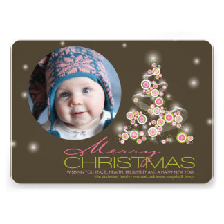 Retro Pink Circles X mas Tree Holiday Greetings Custom Invitation