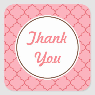 Retro Pink Coral Thank You Stickers