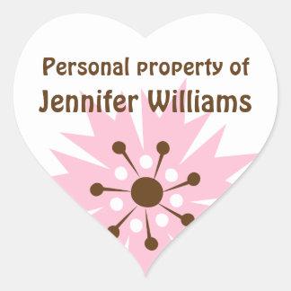 Retro pink cornflower property labels heart sticker