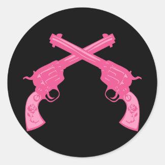 Retro Pink Crossed Pistols Classic Round Sticker