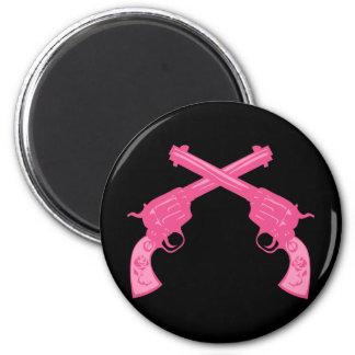 Retro Pink Crossed Pistols Refrigerator Magnets