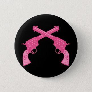 Retro Pink Crossed Pistols Pinback Button