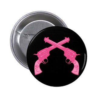 Retro Pink Crossed Pistols Pinback Button