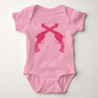Retro Pink Crossed Pistols Tee Shirt