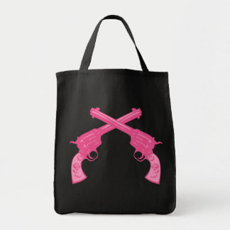 Retro Pink Crossed Pistols Tote Bag