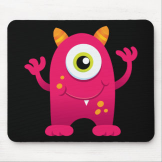 Retro Pink Cute Monster Mouse Pads