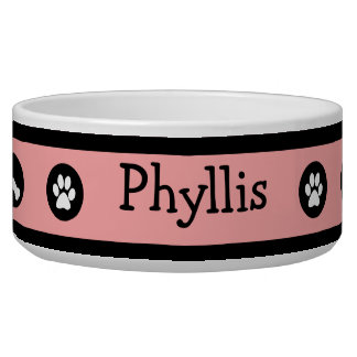 Retro Pink Express Personalized Dog Bowl