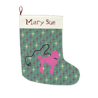 Retro Pink Felt Poodle With Leash Large Christmas Stocking