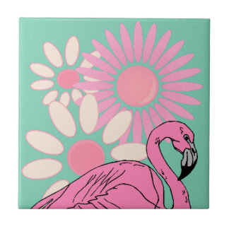 Retro Pink Flamingo Bird Crazy Daisy Floral Tile