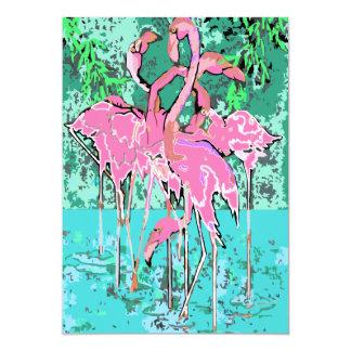 Retro Pink Flamingos Abstract 5x7 Invitations Bird