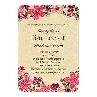 Retro Pink Flowers Bridal Shower Small Invitation