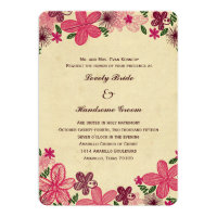 Retro Pink Flowers Christian Wedding Invitation