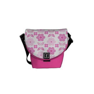Retro Pink Flowers Messenger Bag