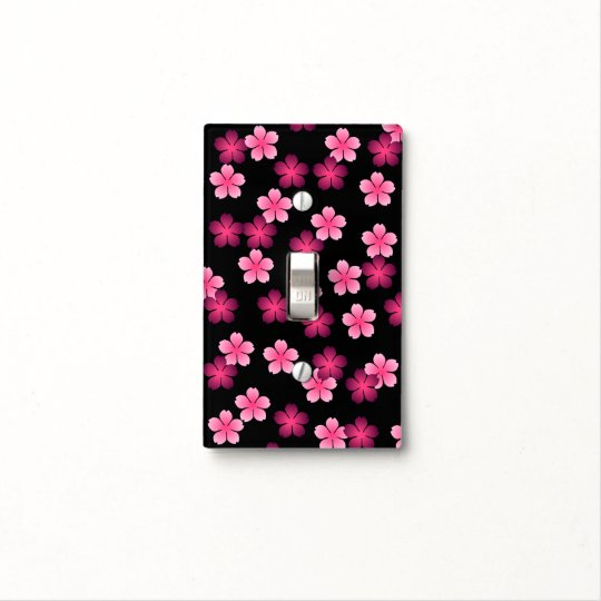 Retro Pink Flowers on Black - Switch Plate