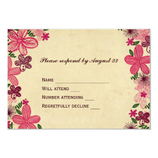 Retro Pink Flowers RSVP Card
