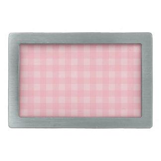 Retro Pink Gingham Checkered Pattern Background Rectangular Belt Buckle