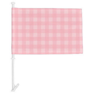 Retro Pink Gingham Checkered Pattern Background Car Flag