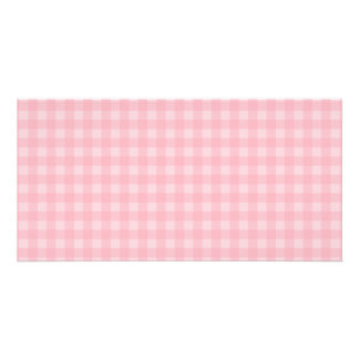 Retro Pink Gingham Checkered Pattern Background Card