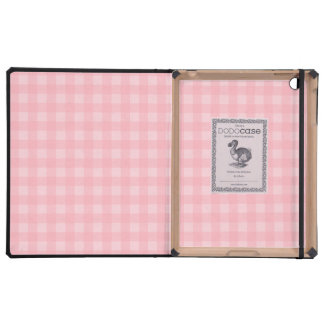 Retro Pink Gingham Checkered Pattern Background Case For iPad