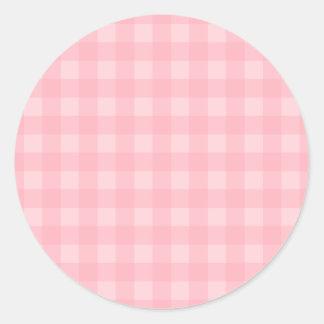 Retro Pink Gingham Checkered Pattern Background Classic Round Sticker
