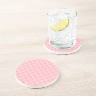 Retro Pink Gingham Checkered Pattern Background Coaster