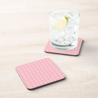 Retro Pink Gingham Checkered Pattern Background Beverage Coaster