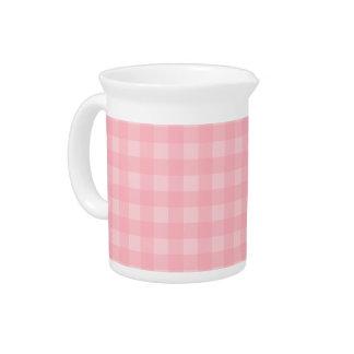 Retro Pink Gingham Checkered Pattern Background Drink Pitcher