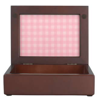 Retro Pink Gingham Checkered Pattern Background Keepsake Box
