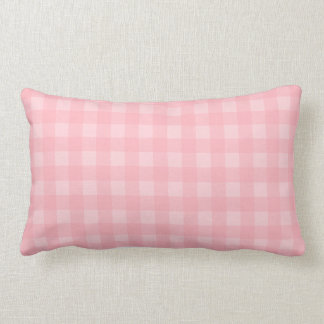 Retro Pink Gingham Checkered Pattern Background Lumbar Pillow