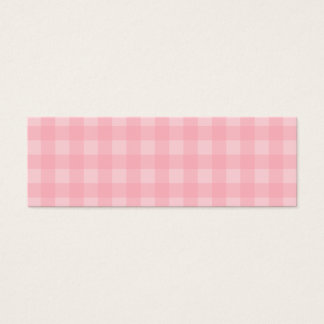 Retro Pink Gingham Checkered Pattern Background Mini Business Card