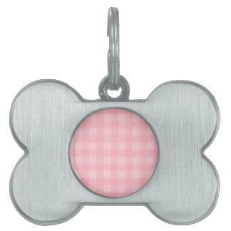 Retro Pink Gingham Checkered Pattern Background Pet Name Tag