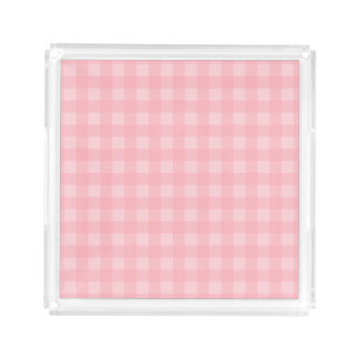 Retro Pink Gingham Checkered Pattern Background Serving Tray