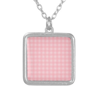 Retro Pink Gingham Checkered Pattern Background Silver Plated Necklace