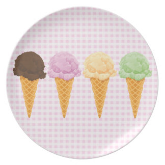 Retro Pink Gingham Ice Cream Cones Dinner Plate