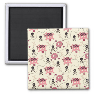 Retro Pink Girly Skull and Bones 2 Inch Square Magnet