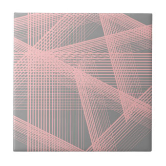 "Retro Pink Gray Wired Wires Ceramic Tiles 4.25"" sq"