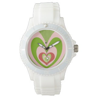 Retro Pink & Green Hearts, White Sports Watch