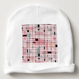 Retro Pink Grid and Starbursts Baby Beanie