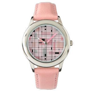 Retro Pink Grid and Starbursts Kid's Watch