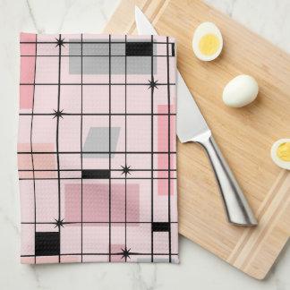 Retro Pink Grid and Starbursts Kitchen Towel