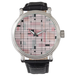 Retro Pink Grid and Starbursts Leather Watch
