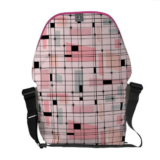 Retro Pink Grid and Starbursts Messenger Bag