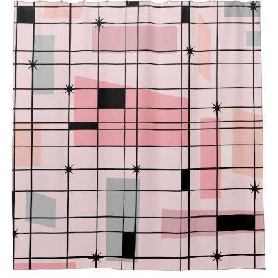 Retro Atomic Pink Pattern Shower Curtain | Zazzle.com