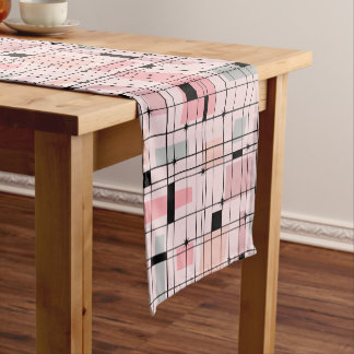 Retro Pink Grid and Starbursts Table Runner