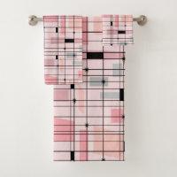 Retro Pink Grid and Starbursts Towel Set