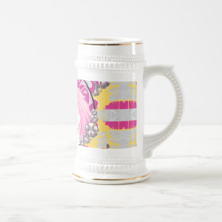 Retro Pink Haired Girl With Lollipop & Flowers Beer Stein
